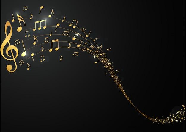 Fondo de notas musicales doradas.