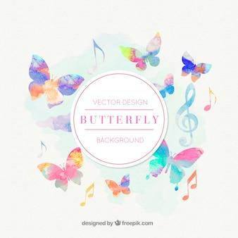 Fondo con notas musicales y mariposa