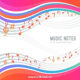 Fondo de notas musicales con ondas