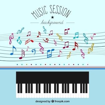 Fondo con notas musicales y piano