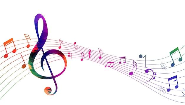 Fondo de notas de ondas de sonido de pentagrama musical