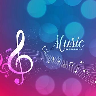 Fondo de notas de pentagrama de música con fondo bokeh