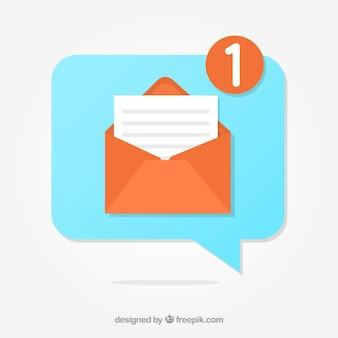 Fondo con notificaciónde mensaje