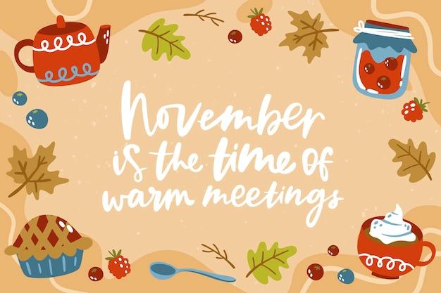 Fondo de noviembre cálido dibujado a mano