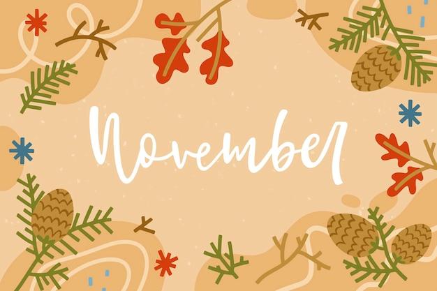 Fondo noviembre dibujado a mano