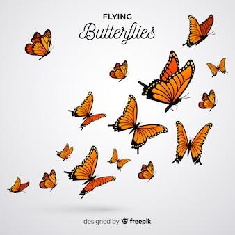 Fondo nube de mariposas realistas