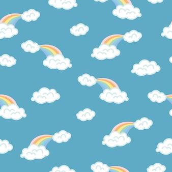 Fondo de nubes, arco iris de patrones sin fisuras, ilustración vectorial de dibujos animados, fondo de cielo azul para niños