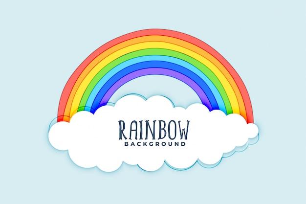 Fondo de nubes y arco iris