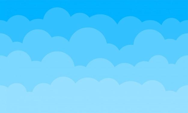 Fondo de nubes de cielo. azul degradado de dibujos animados cielo nublado patrón de fondo sin fisuras