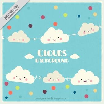 Fondo de nubes y círculos de colores