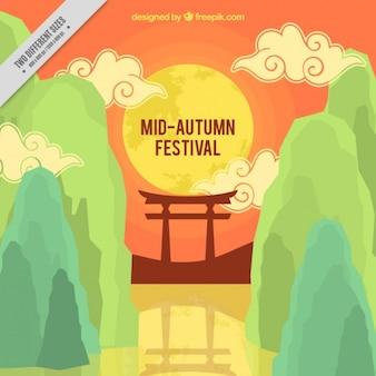 Fondo con nubes para el festival del medio otoño