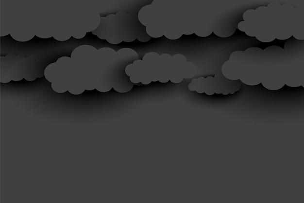 Fondo de nubes gris oscuro en estilo papercut