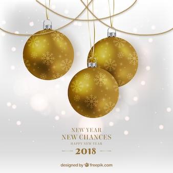 Fondo nuevo año nuevas oportunidades con bolas de árbol doradas