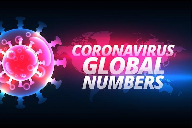 Fondo de número global de casos de coronavirus con célula de virus