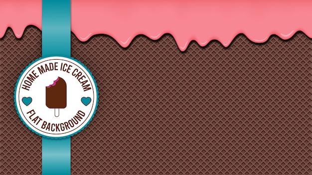 Fondo de oblea de helado de chocolate