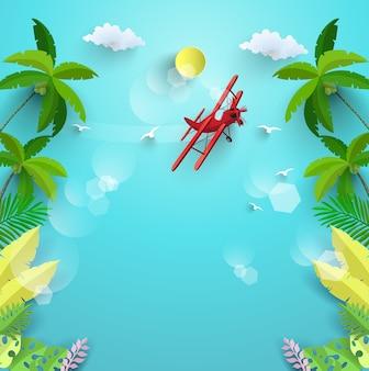 Fondo del océano azul y plantas tropicales