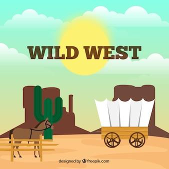 Fondo del oeste con caballo y carruaje en estilo plano