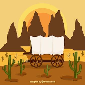Fondo del oeste con carruaje y montañas rocosas