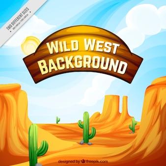 Fondo del oeste dibujado a mano con cactus y montañas rocosas