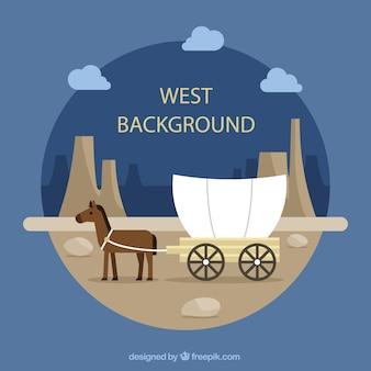 Fondo del oeste redondo con caballo y carro