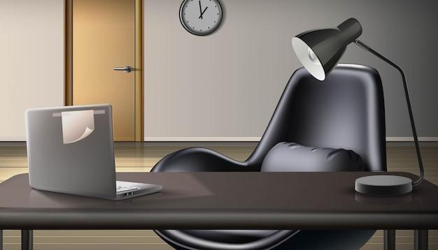 Fondo de oficina. espacio de trabajo con laptop y lámpara. concepto independiente y trabajo desde casa.