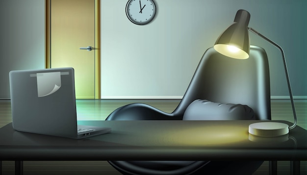 Fondo de oficina por la noche. espacio de trabajo con laptop y lámpara. concepto independiente y trabajo desde casa.