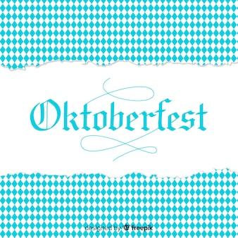 Fondo de oktoberfest blanco y azul con textura de papel roto