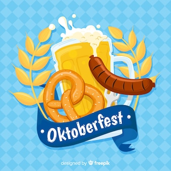 Fondo del oktoberfest con cerveza dibujado a mano
