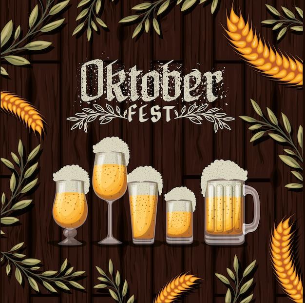 Fondo de oktoberfest con cerveza