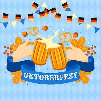 Fondo de oktoberfest con cervezas y pretzels