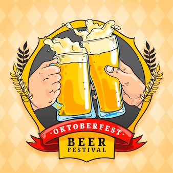 Fondo de oktoberfest dibujado a mano con cerveza