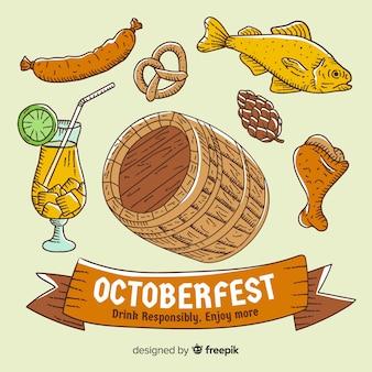 Fondo de oktoberfest dibujado a mano con elementos