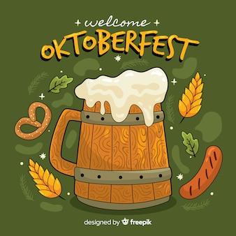 Fondo de oktoberfest dibujado a mano