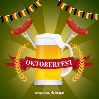 Fondo del oktoberfest en diseño plano con cerveza