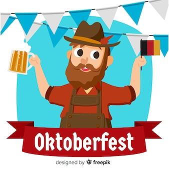 Fondo del oktoberfest con hombre alemán