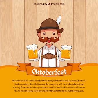 Fondo de oktoberfest de hombre con cervezas