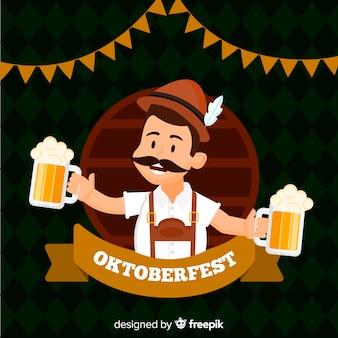 Fondo del oktoberfest con hombre feliz