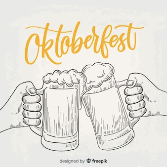 Fondo de oktoberfest con jarras de cerveza dibujado a mano