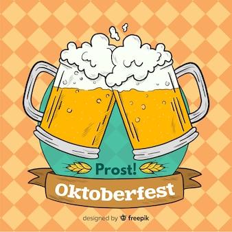 Fondo de oktoberfest con jarras de cerveza