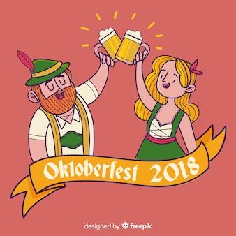 Fondo del oktoberfest con pareja dibujado a mano