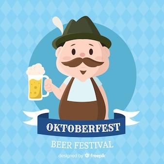 Fondo de oktoberfest con personaje en diseño plano