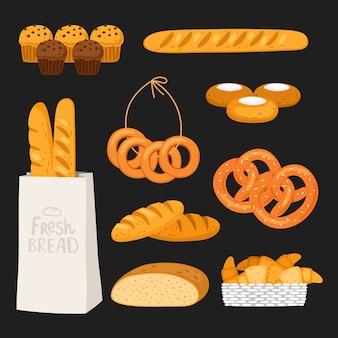 Fondo del onblack del pan fresco y de los pasteles. elementos de panadería