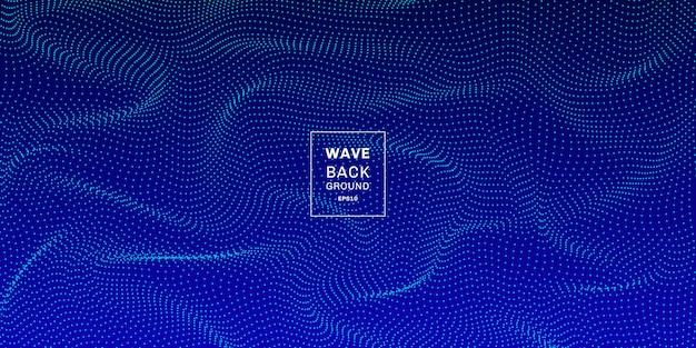 Fondo de onda 3d puntos dinámicos azul resumen
