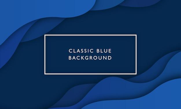 Fondo de onda azul clásico con estilo de corte de papel superpuesto