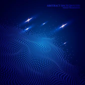 Fondo de onda brillante punteado abstracto, efecto 3d. colores azules.