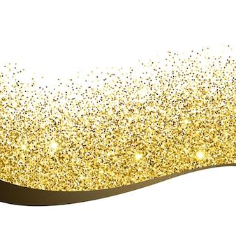 Fondo de onda y brillantina dorada