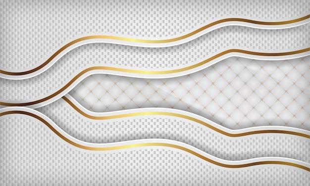 Fondo de onda de papel de lujo blanco con línea dorada