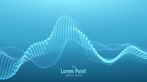 Fondo de onda de partículas azules abstractas