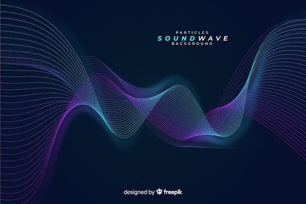 Fondo onda partículas sonoras oscuro