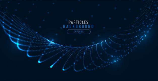 Fondo de onda de partículas de tecnología azul digital brillante